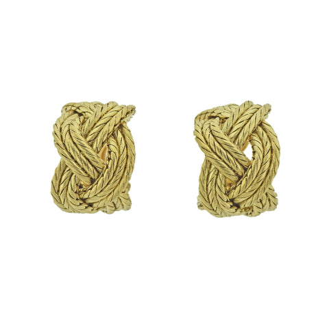 image of Buccellati Yellow Gold Braided Hoop Earrings