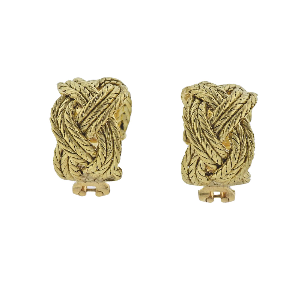 thumbnail image of Buccellati Yellow Gold Braided Hoop Earrings