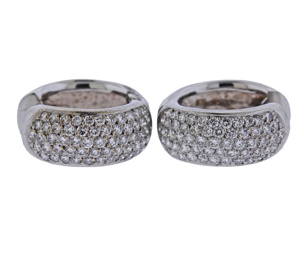 thumbnail image of 18k Gold Diamond Hoop Earrings