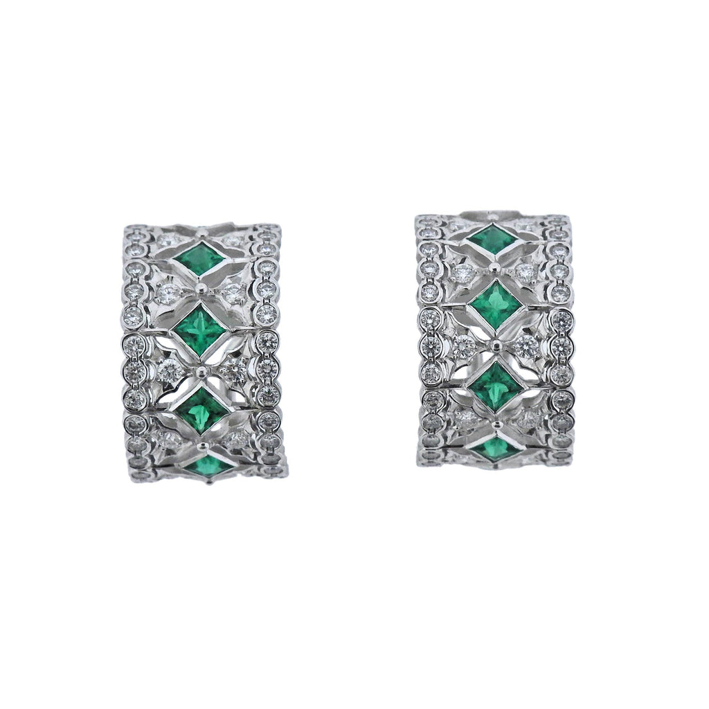 thumbnail image of Buccellati Prestigio Diamond Emerald Gold Hoop Earrings