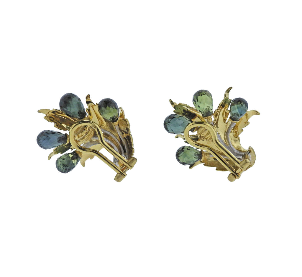 thumbnail image of Buccellati Green Sapphire Gold Earrings
