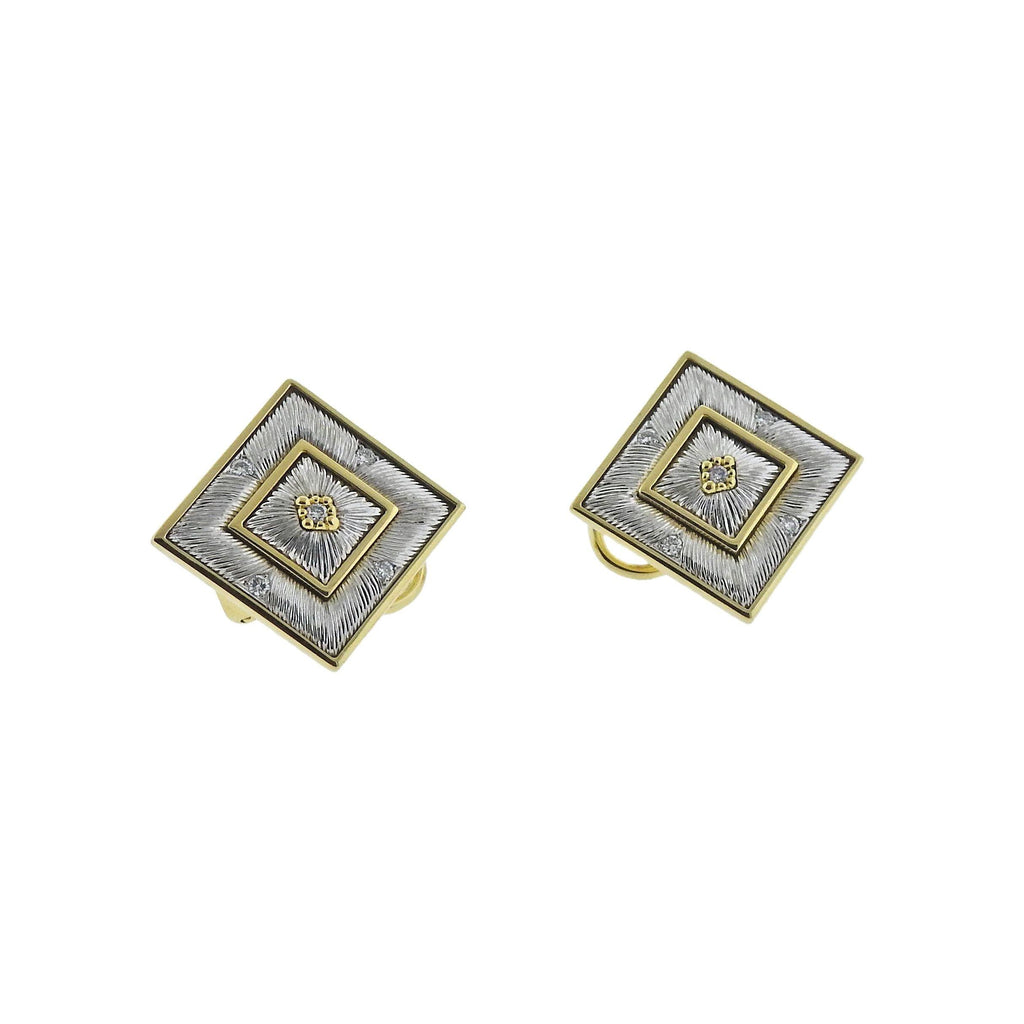 thumbnail image of Buccellati Prestigio Diamond Square Gold Earrings
