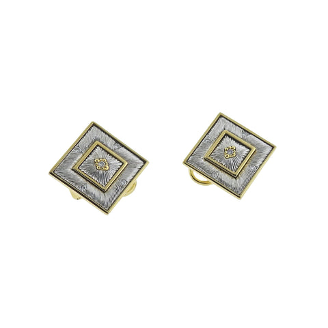 image of Buccellati Prestigio Diamond Square Gold Earrings