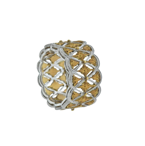 image of Buccellati White Yellow Gold Wide Band Ring