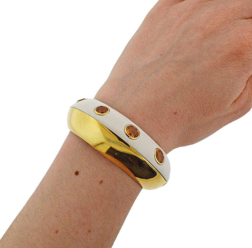 thumbnail image of Seaman Schepps Mammoth Tusk Citrine Gold Cuff Bracelet