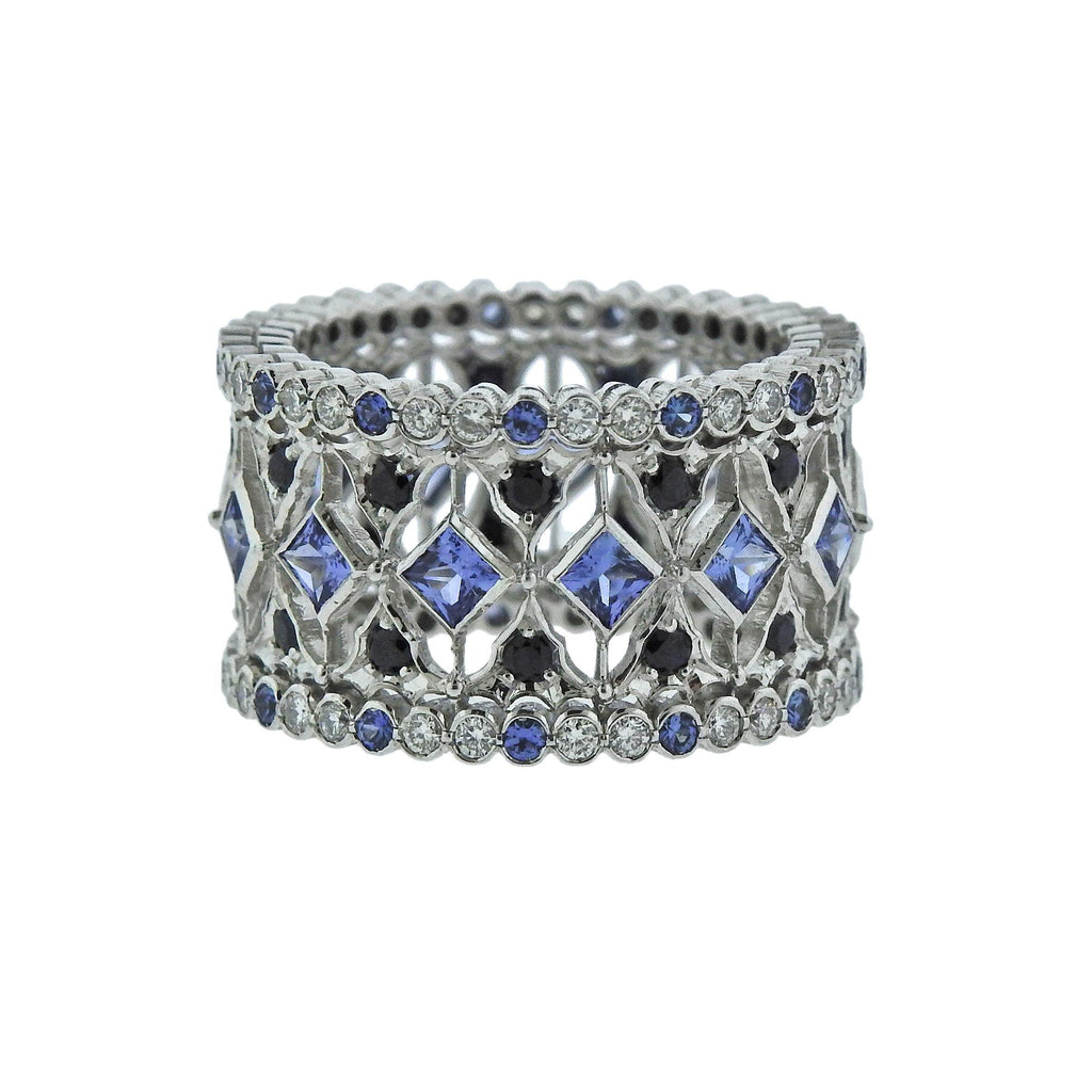 thumbnail image of Buccellati Prestigio White Gold Diamond Sapphire Band Ring