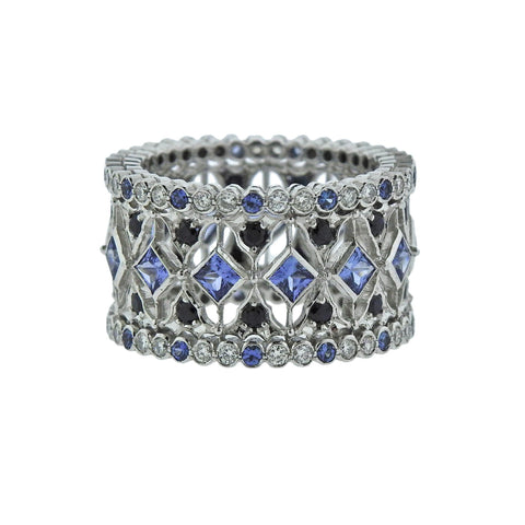 image of Buccellati Prestigio White Gold Diamond Sapphire Band Ring