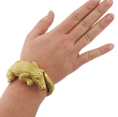 image of Kieselstein Cord Alligator Gold Bracelet