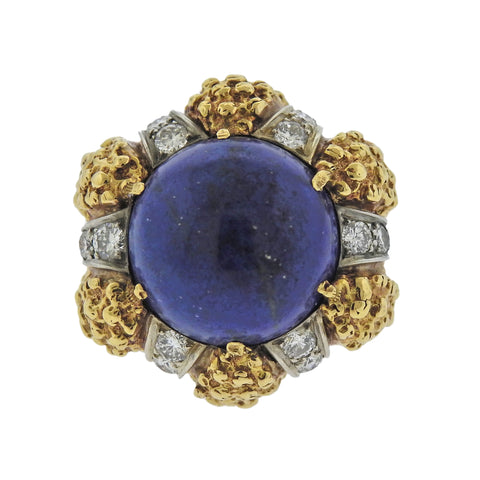 image of 1970s Modernist Lapis Diamond Gold Ring