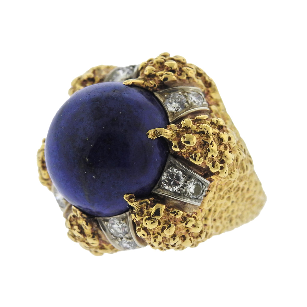 thumbnail image of 1970s Modernist Lapis Diamond Gold Ring