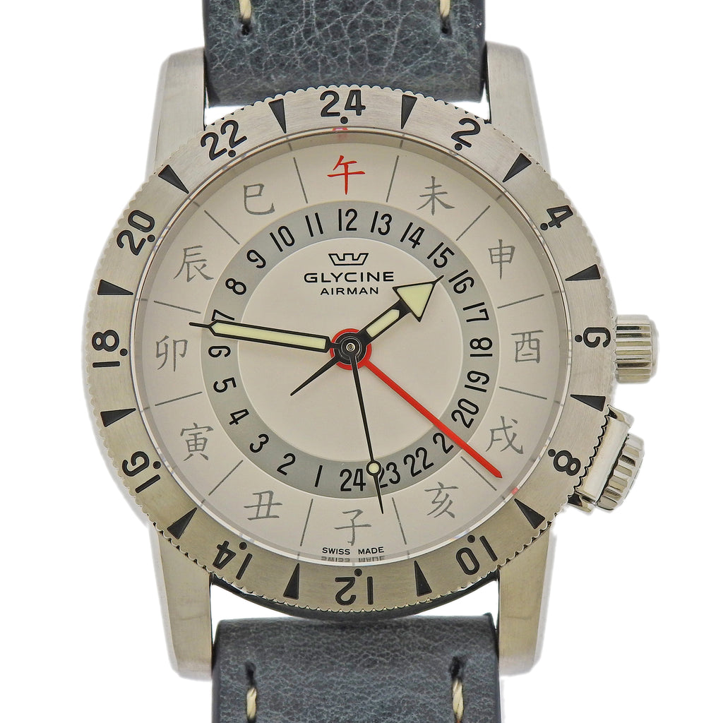 thumbnail image of Glycine Airman Base 22 Limited Edition Chinese Characters Watch 3887.11C