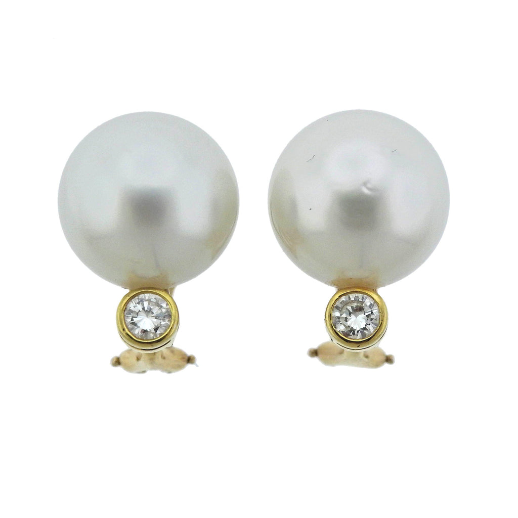 thumbnail image of South Sea Pearl Diamond Gold Cocktail Earrings