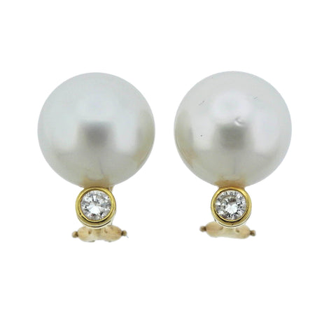 image of South Sea Pearl Diamond Gold Cocktail Earrings