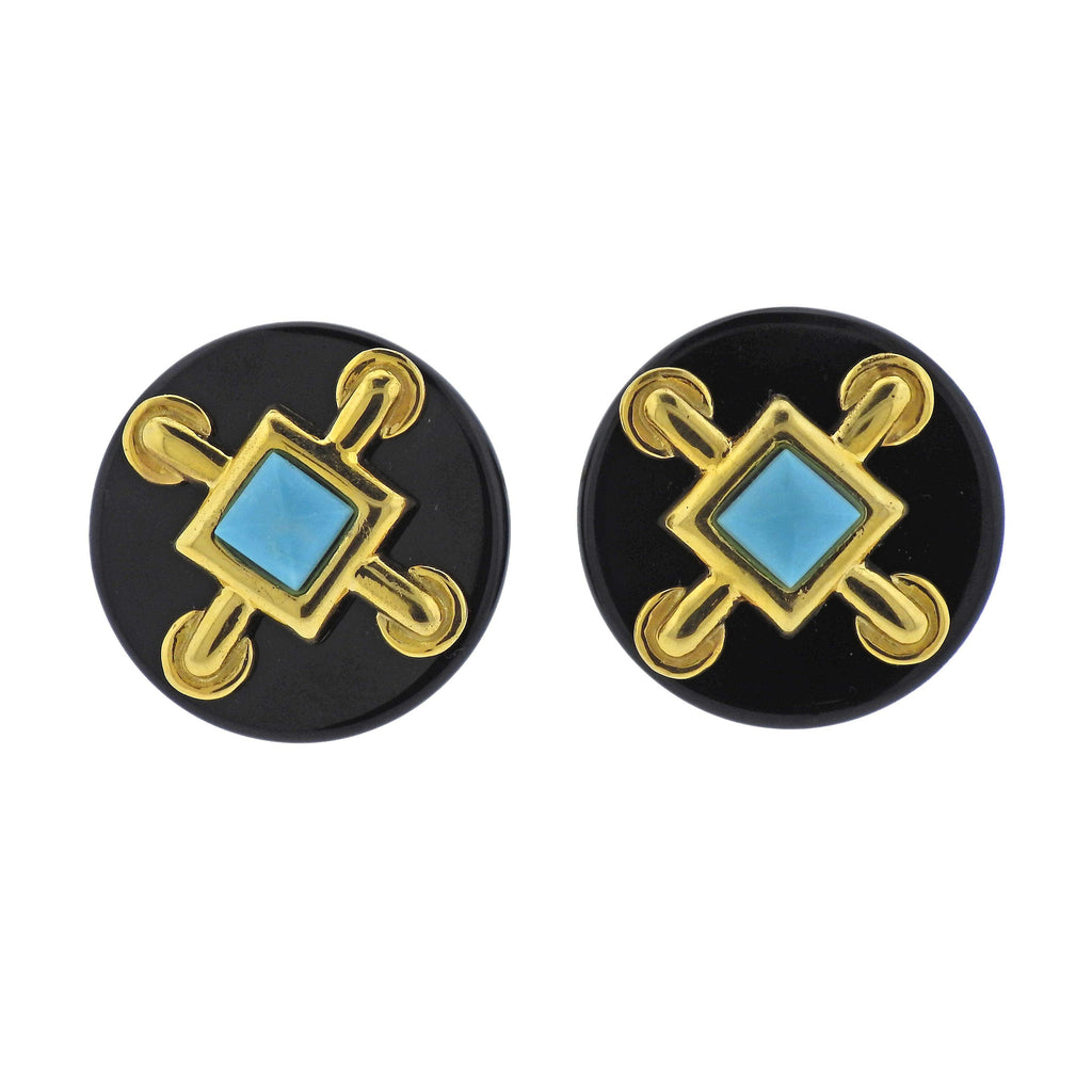 thumbnail image of Aldo Cipullo 1970s Onyx Turquoise Gold Earrings