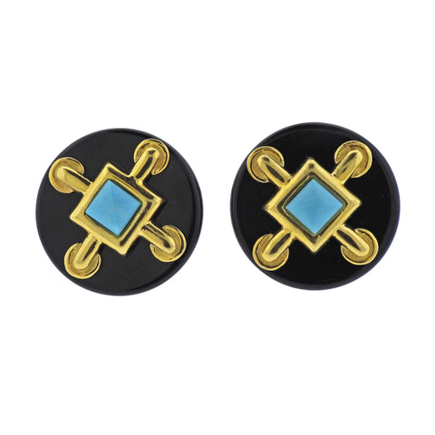 image of Aldo Cipullo 1970s Onyx Turquoise Gold Earrings
