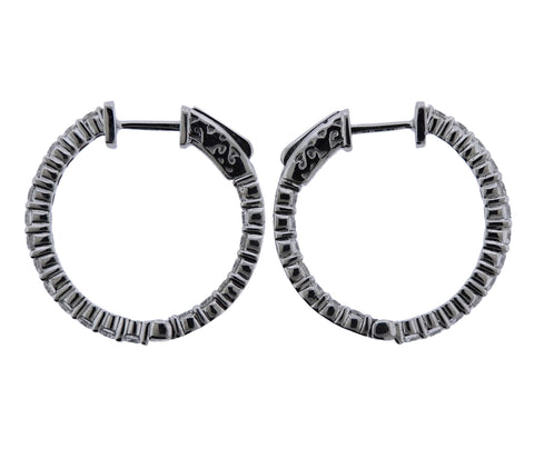 image of Gold Diamond Inside Out Hoop Earrings