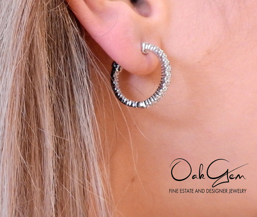 thumbnail image of Gold Diamond Inside Out Hoop Earrings