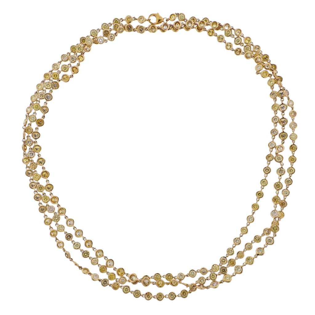 thumbnail image of 18k Gold Fancy Yellow 25 Carat Diamond By The Yard Necklace