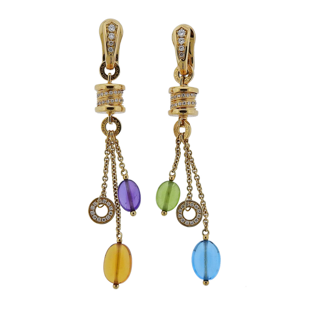 thumbnail image of Bulgari B.Zero1 Diamond Gemstone Gold Drop Earrings
