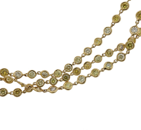 image of 18k Gold Fancy Yellow 25 Carat Diamond By The Yard Necklace