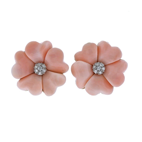 image of Coral Diamond Gold Flower Earrings