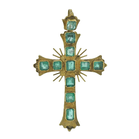 image of Antique Continental Emerald Gold Cross Pendant