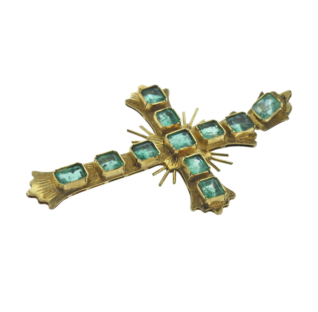 thumbnail image of Antique Continental Emerald Gold Cross Pendant