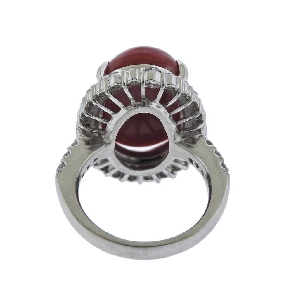 thumbnail image of Classic Platinum Coral Diamond Cocktail Ring