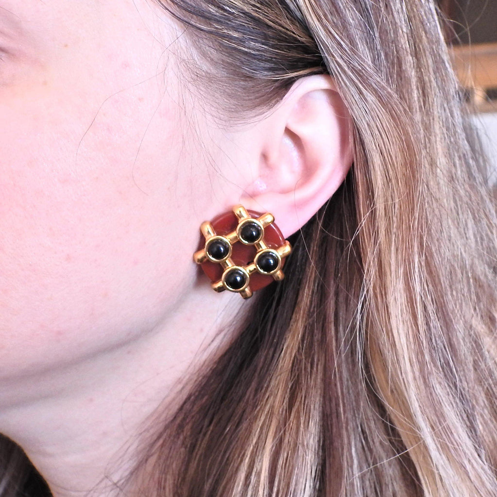 thumbnail image of Aldo Cipullo 1970s Carnelian Onyx Gold Earrings