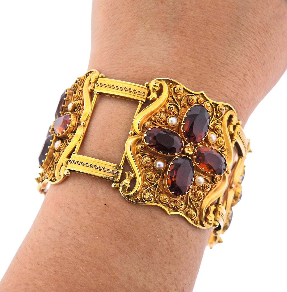thumbnail image of Antique 1850s Natural Pearl Garnet 14k Gold Bracelet