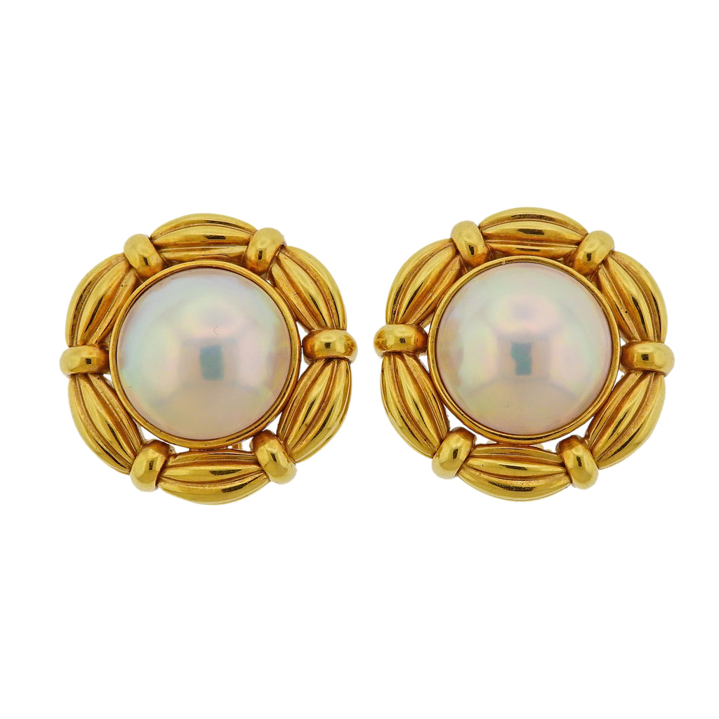 thumbnail image of Tiffany & Co Mabe Pearl Gold Earrings