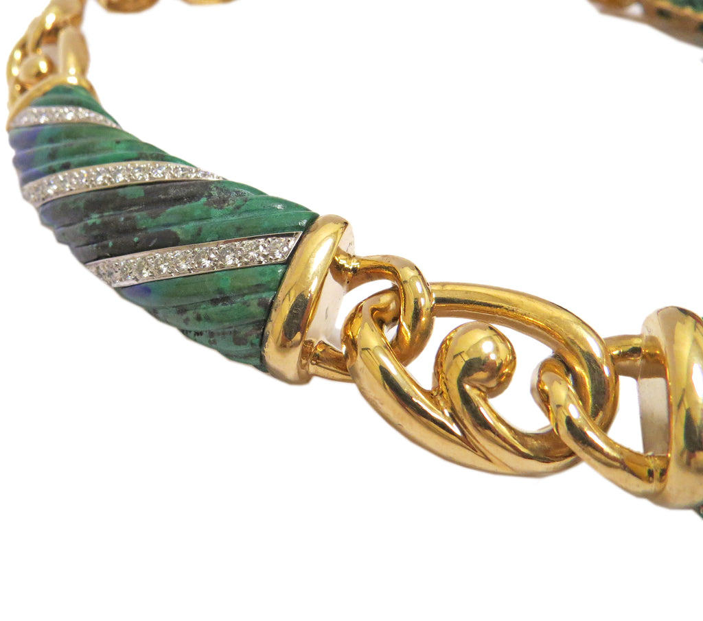thumbnail image of David Webb Gold Platinum Azurite Necklace