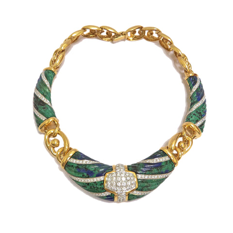 image of David Webb Gold Platinum Azurite Necklace