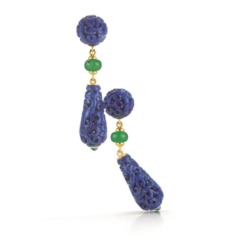image of Seaman Schepps Carved Lapis Chrysoprase Gold Canton Earrings