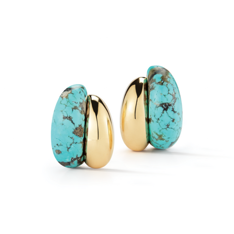 image of Seaman Schepps Silhouette Turquoise Gold Earrings