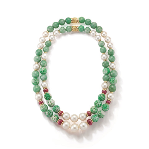 image of Seaman Schepps Canton Carved Jade Bead Pearl Ruby Gold Necklace Suite