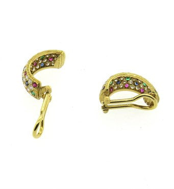 thumbnail image of Buccellati Sapphire Emerald Ruby Diamond Gold Earrings