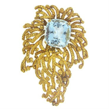 image of 1960s Aquamarine 18k Gold Brooch Pendant
