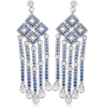 image of Tiffany & Co Platinum Diamond Sapphire Diamond Earrings
