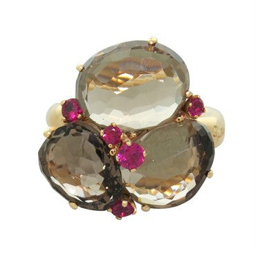 image of New Pomellato Bahia Gold Ruby Smokey Quartz Ring