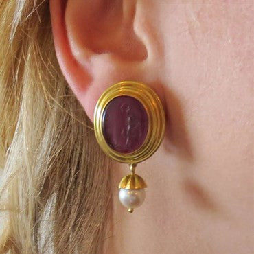 thumbnail image of Elizabeth Locke Gold Venetian Glass Intaglio Day Night Pearl Earrings