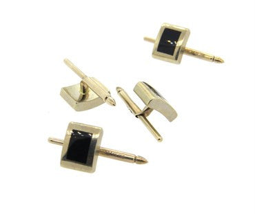 thumbnail image of Lindsay & Co Black Onyx 14k Gold Dress Stud Set