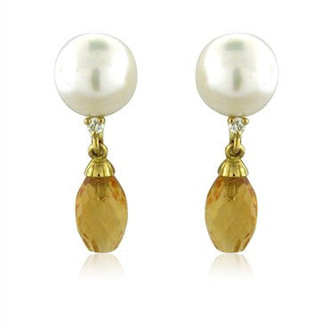 image of New Trianon 18K Yellow Gold Pearl Diamond Citrine Drop Earrings