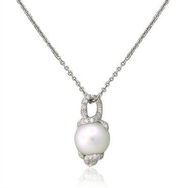 image of Estate Henry Dunay Platinum Diamond 14.6mm Pearl Pendant Necklace