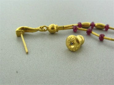 thumbnail image of New Gurhan 24K Gold Ruby Bead Drop Earrings