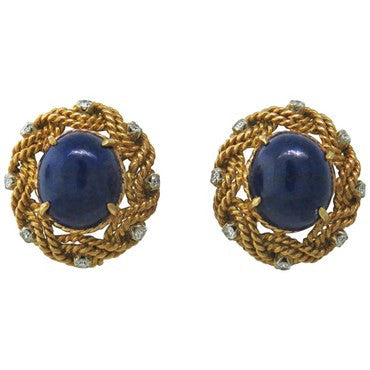 thumbnail image of Classic 1960s 18k Gold Lapis Diamond Earrings
