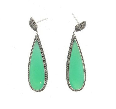 thumbnail image of Imressive David Yurman Chrysoprase Diamond Gold Quatrefoil Earrings