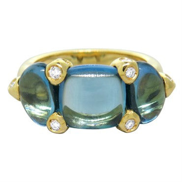 image of New Pomellato Sassi 18k Gold London Blue Topaz Diamond Ring