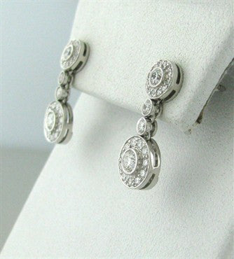 thumbnail image of Tiffany & Co Circlet Platinum Diamond Drop Earrings