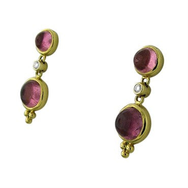 thumbnail image of New Temple St Clair 18K Gold Pink Tourmaline Cabochon Diamond Earrings